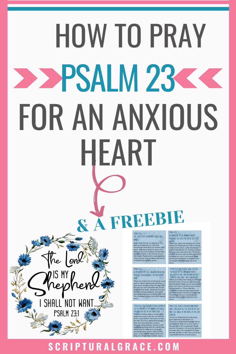 free printable of prayer cards and poster for Psalm 23