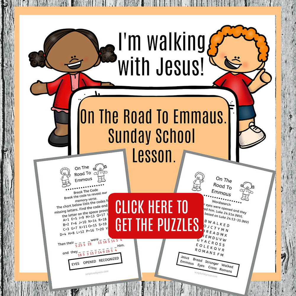 Free printables for On the road to Emmaus bible lesson for kids