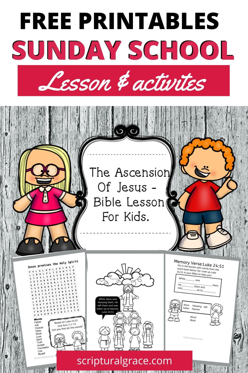 Free Bible lesson for kids the Ascension Of Jesus with free printable