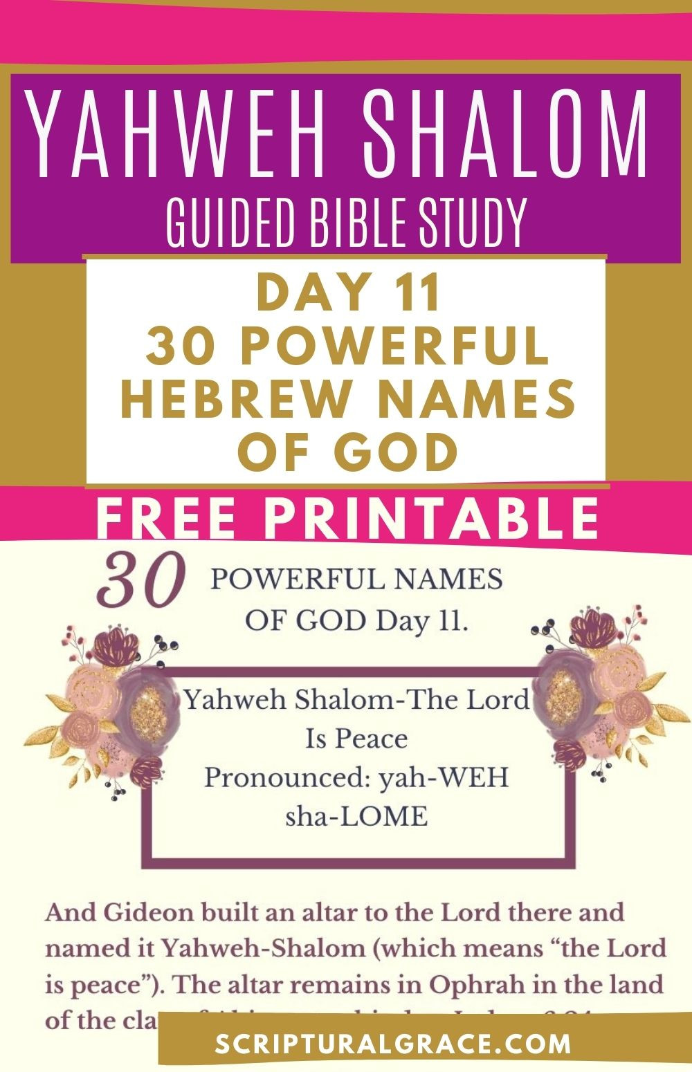 Yahweh Shalom guided bible study names of god and free printable