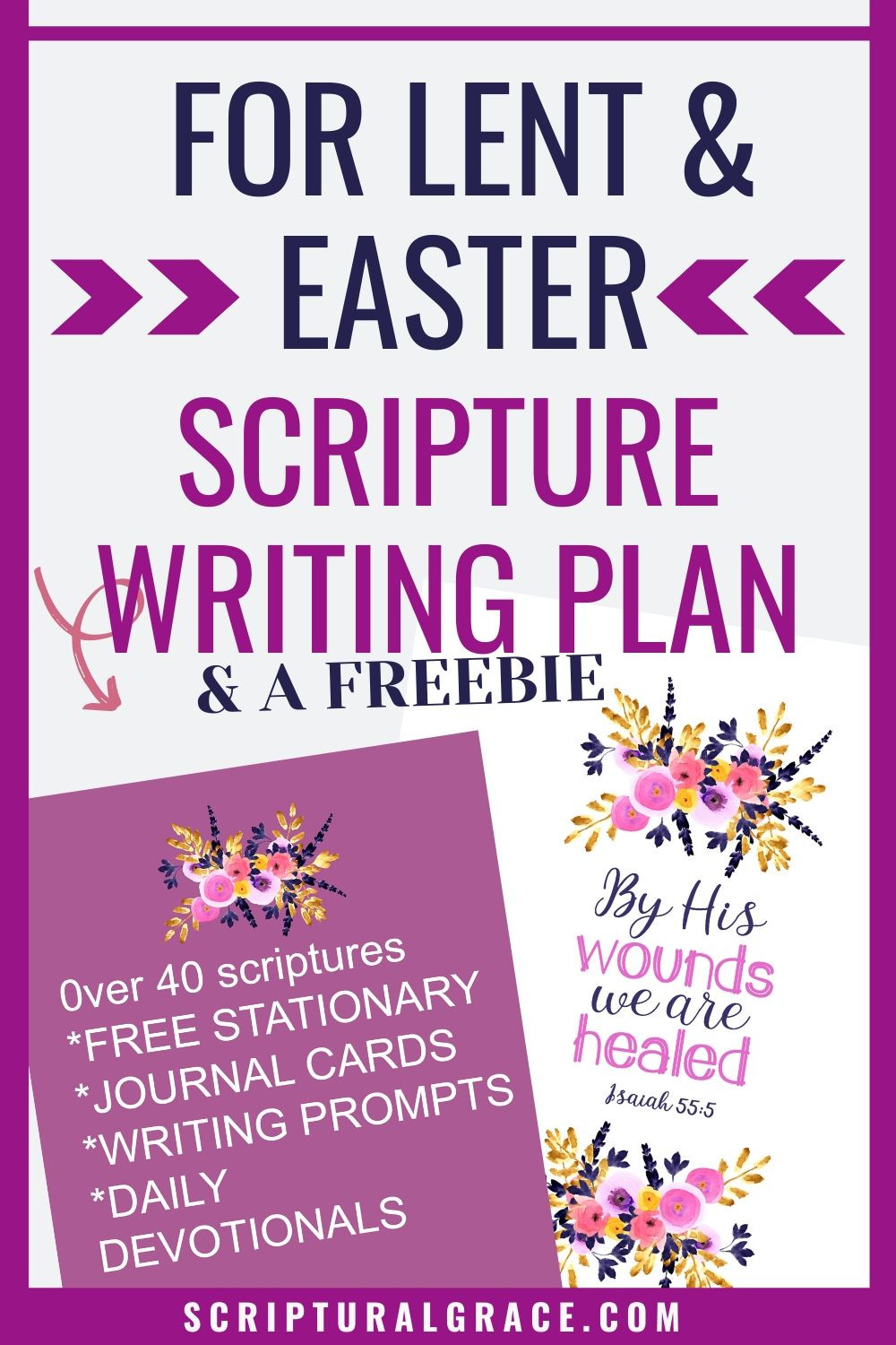 Free scripture writing plan for Lent and Easter with  free printable