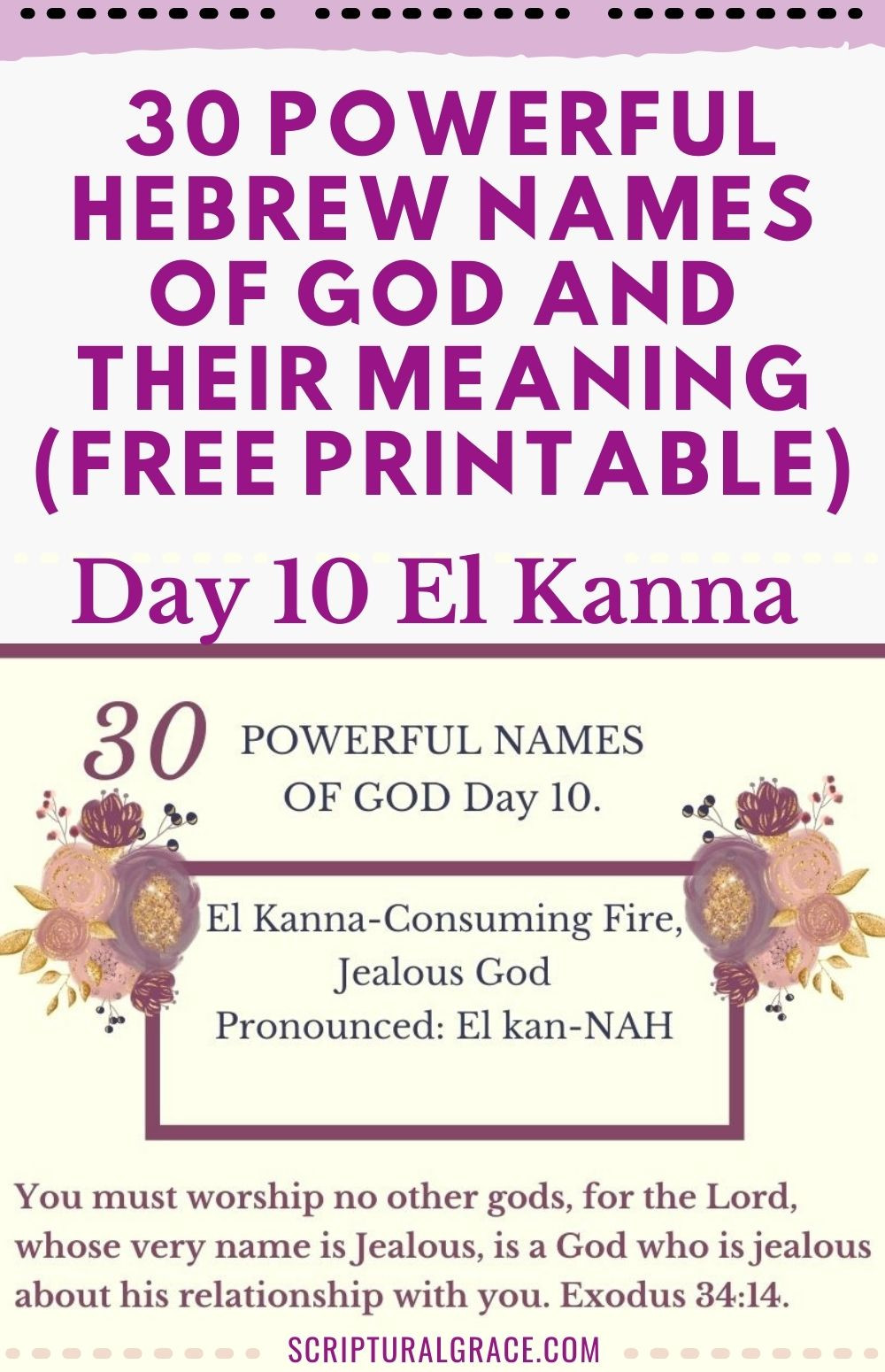 El Kanna Hebrew Name for God, meaning free name chart of God and prayer journal.