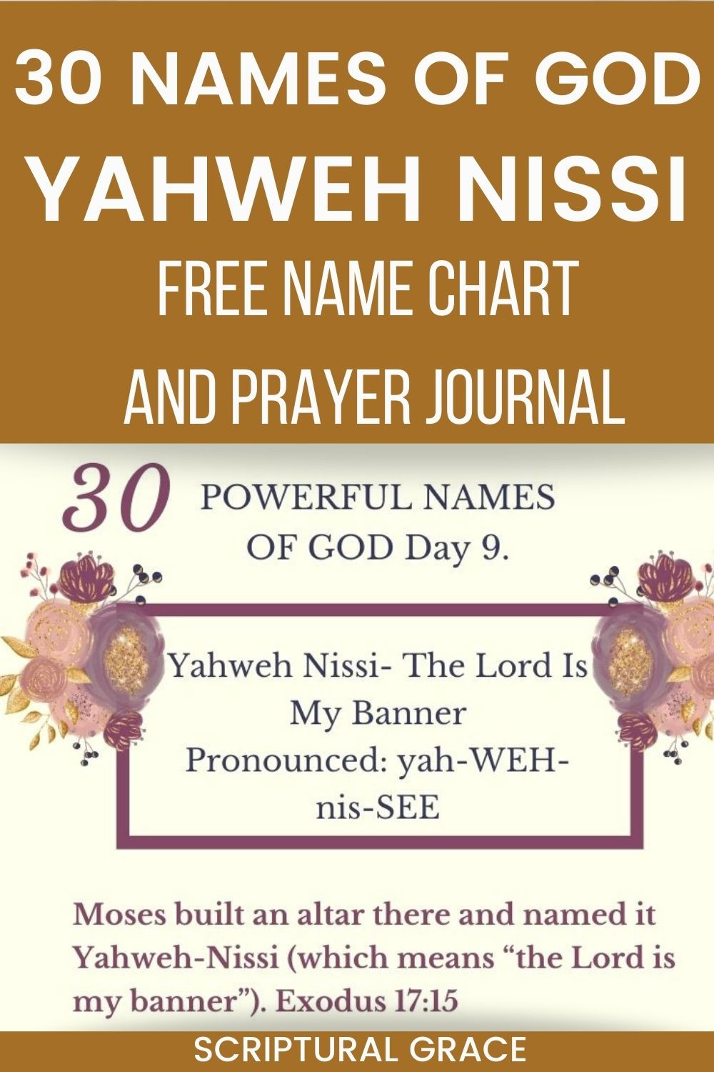30 Names Of God Yahweh Nissi name chart and prayer journal