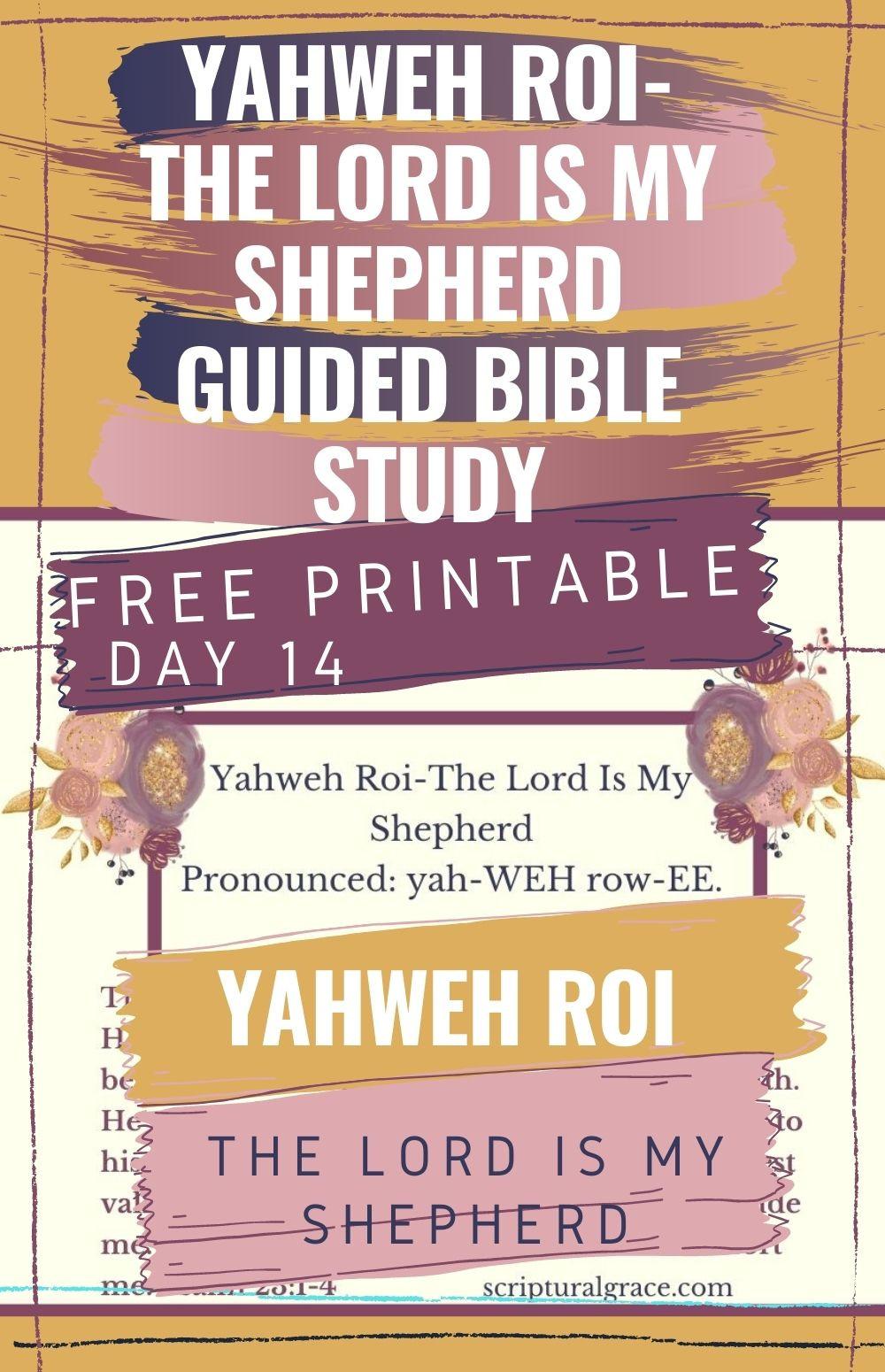 Yahweh Roi-The Lord Is My Shepherd bible study free printable