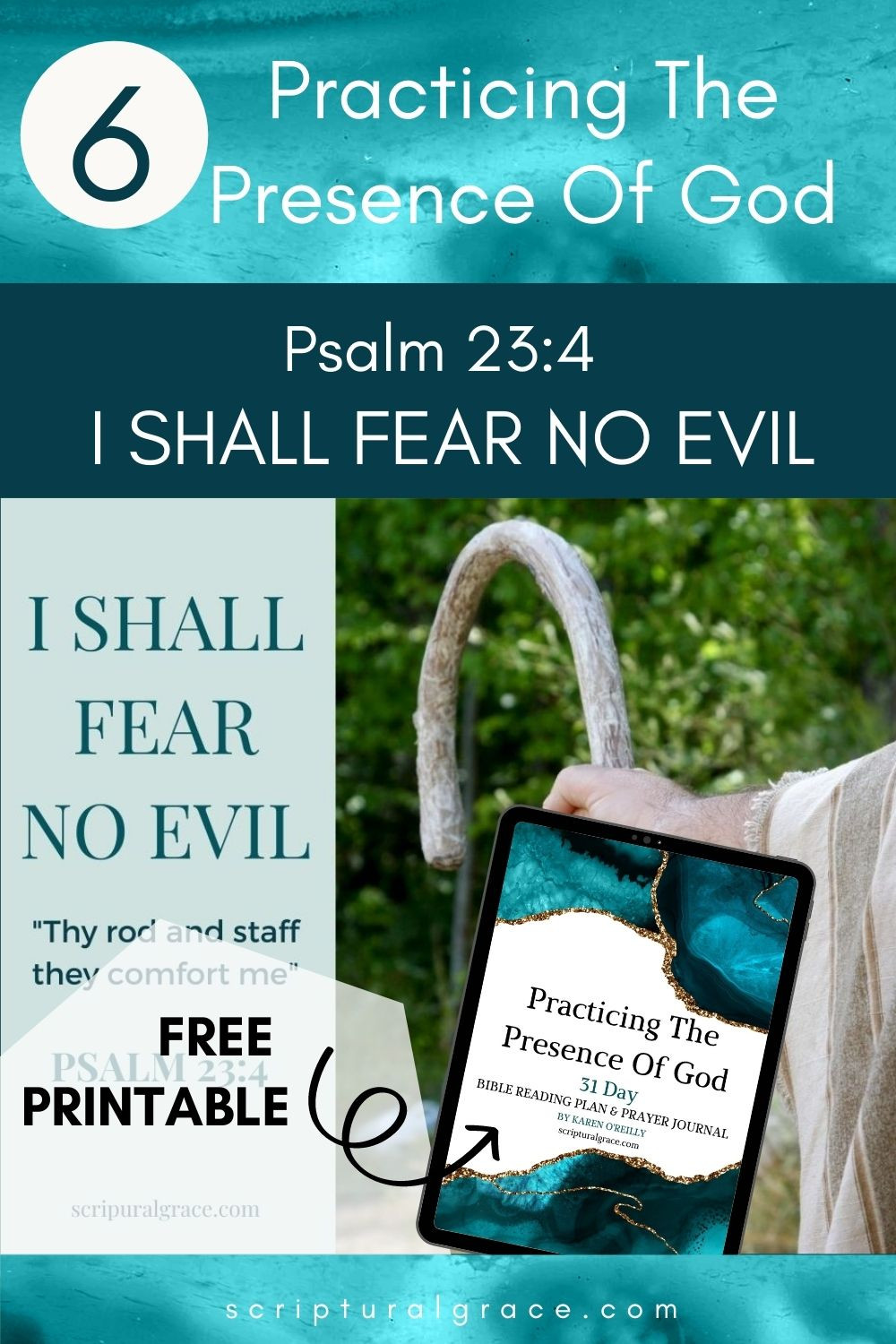 I shall fear no evil, Psalm 23 4 short powerful devotion and bible study free printable