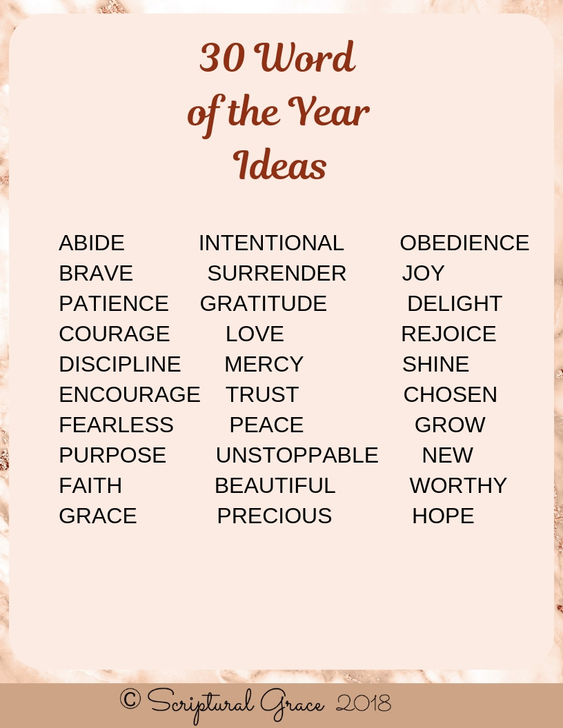 30 Words for the year ideas