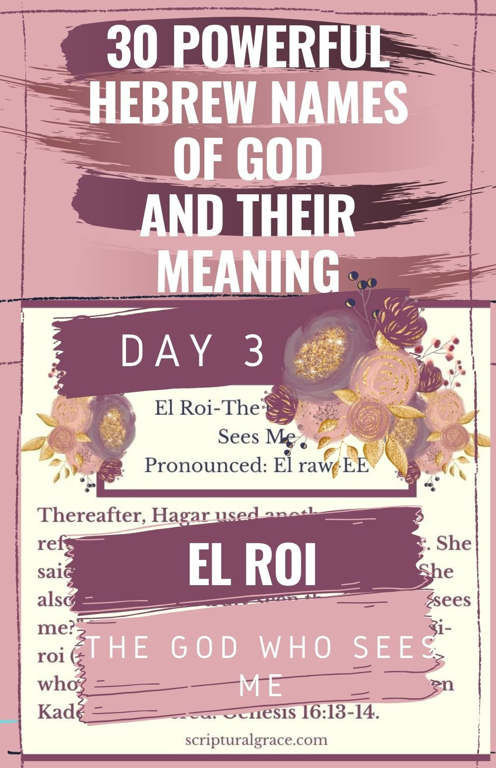 El Roi Day 3 Names Of God meaning and chart