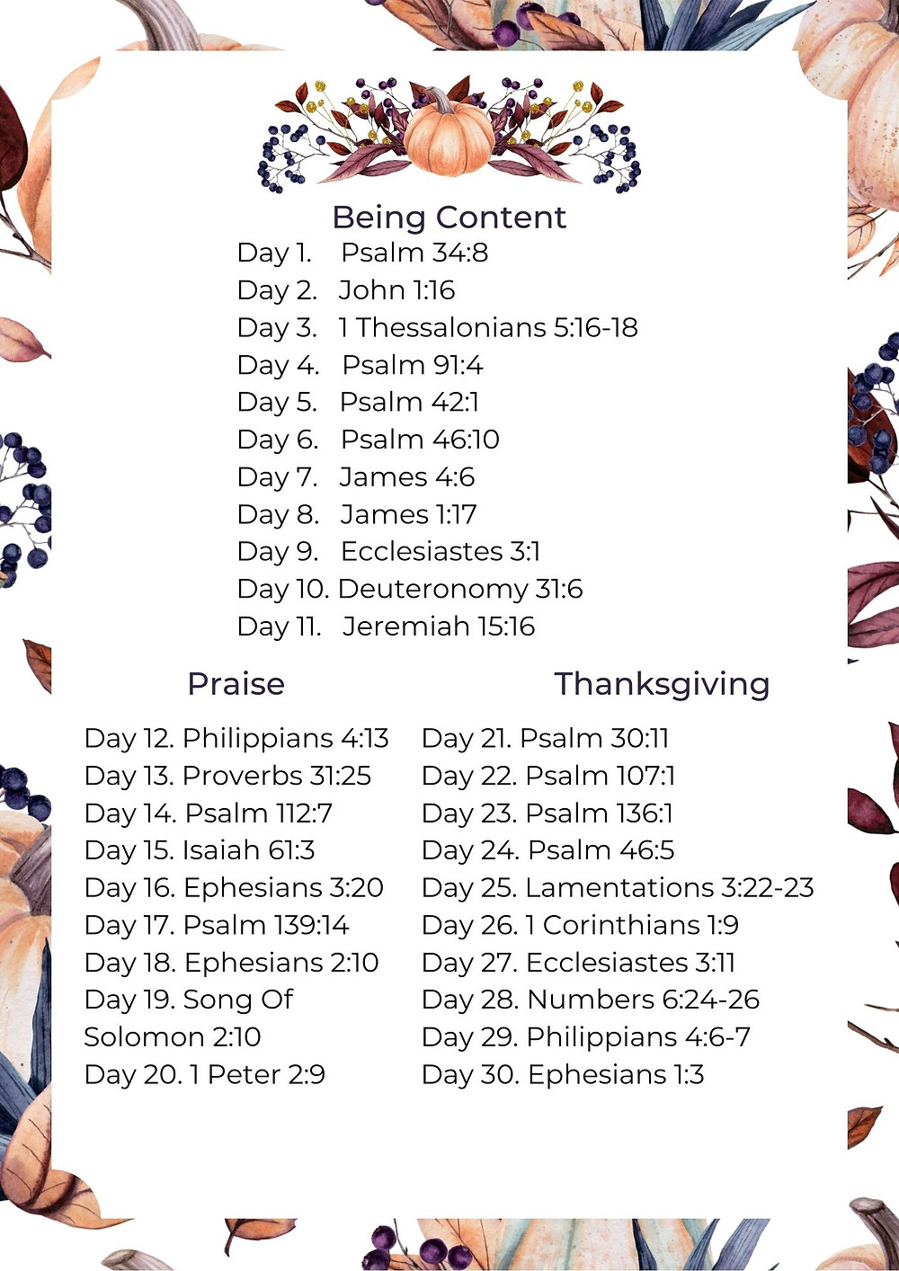 30 Bible Verses for Thanksgiving. Thanksgiving Bible study.