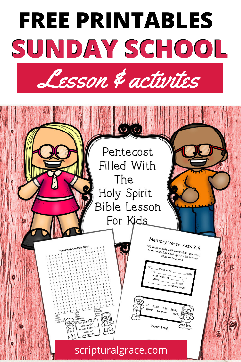 Pentecost The Holy Spirit comes bible lesson for kids with free printable activites and puzzles.