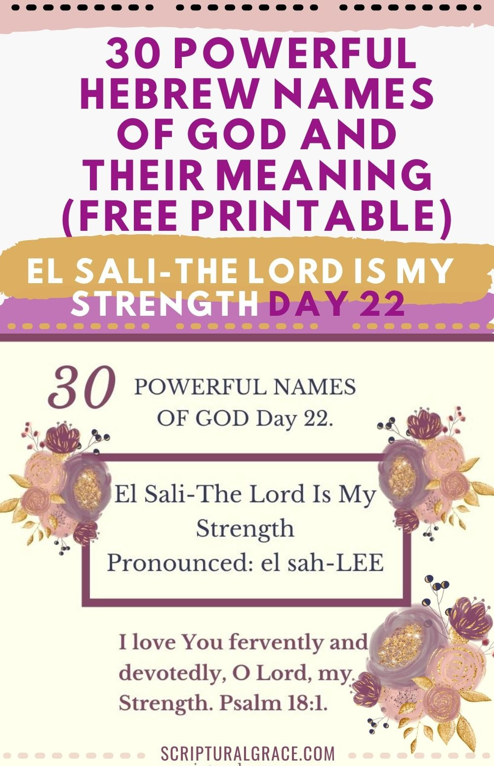 30 Powerful names of God- El Sali-The Lord is my strength