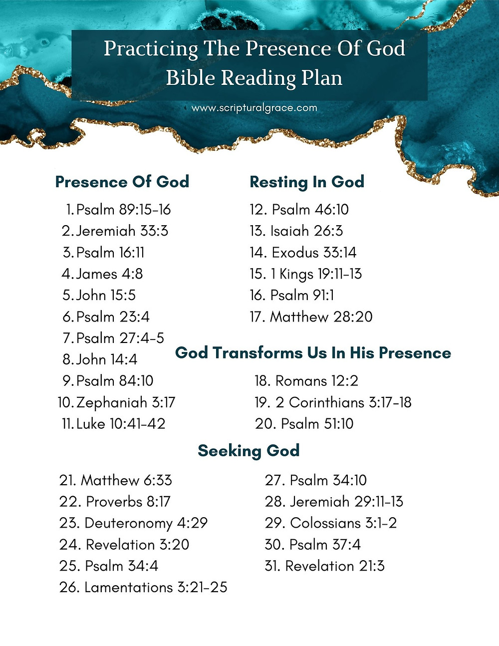 Practicing The Presence Of God 31 Scriptures