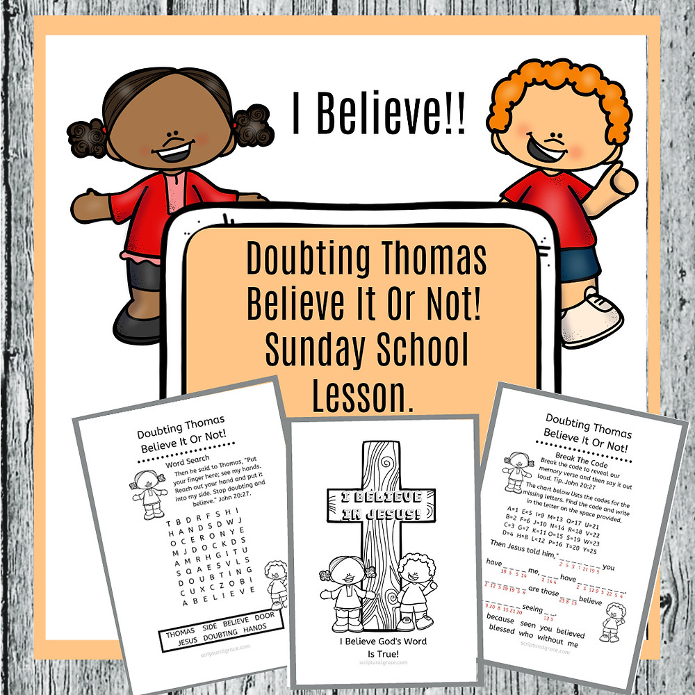 Free Printable Craft and activities for Doubting Thomas Kids Lesson