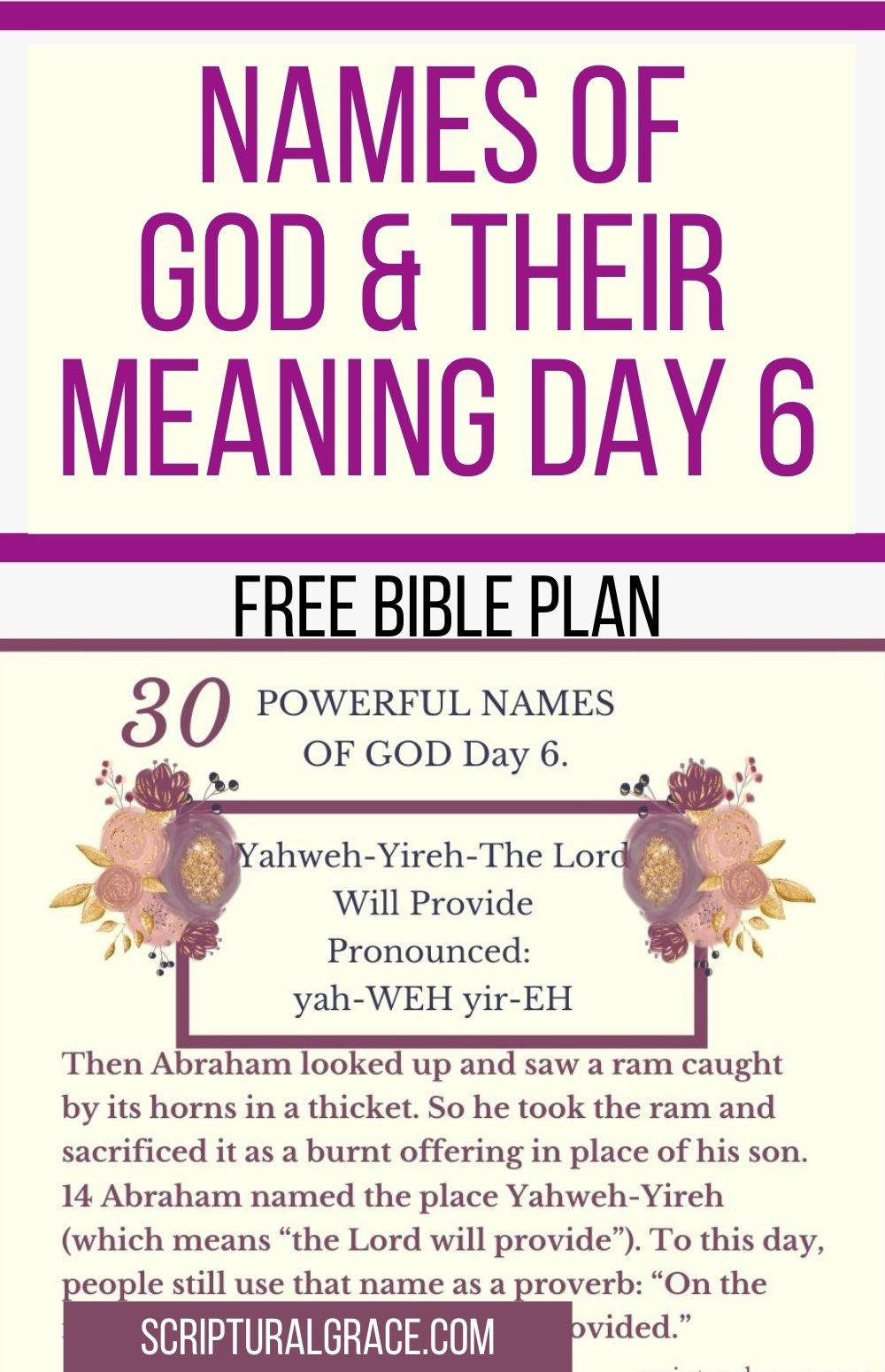 Yahweh-Yireh biblical meaning free chart names of God