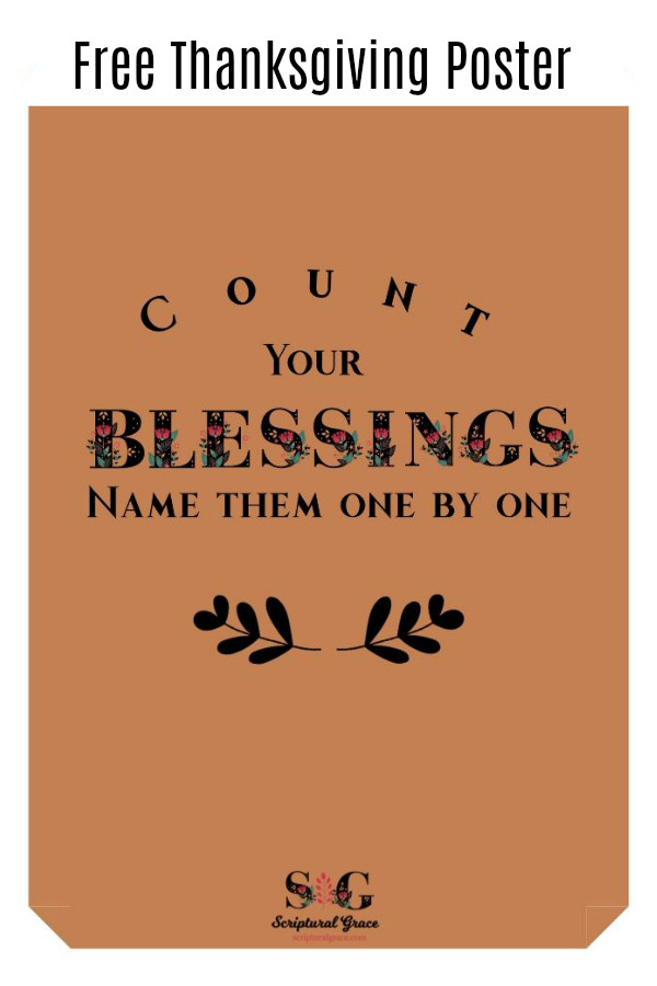 Free Thanksgiving Printable- Count your blessings