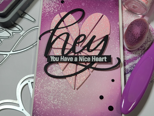 MFT Stamps Heart Burst Hellos Card Kit Floating Heart Mini-Slimline Card