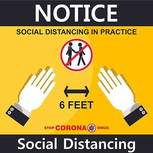 "Social Distance Sign 12"" x12"""