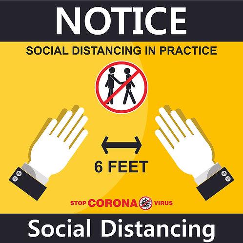 "Social Distance Sign 12"" x12"""