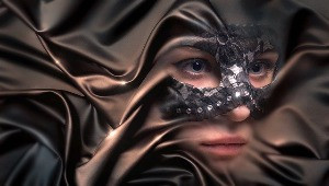 woman in shroud
