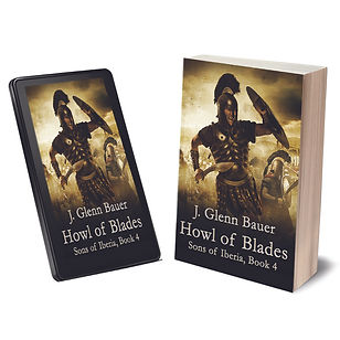 Ancient swordsman in battle on book cover