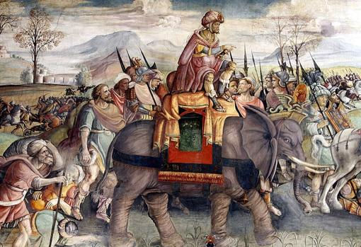 Warriors and war elephants