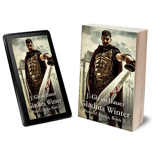 Roman legionary with gladius on book cover