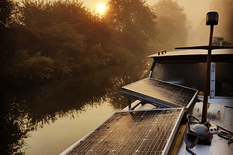 Solar panels on a cabin boat