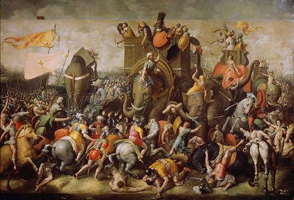 Roman cavalry and Carthaginian war elephants