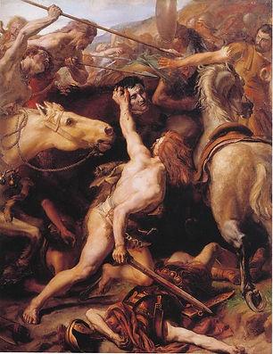 Beheading of Flaminius by Ducarius at Battle of Lake Trasimene