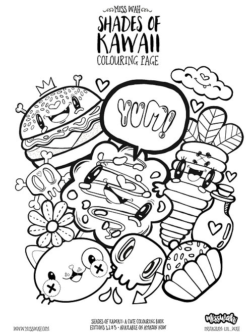 Miss Wah - Shades of Kawaii Colouring Page