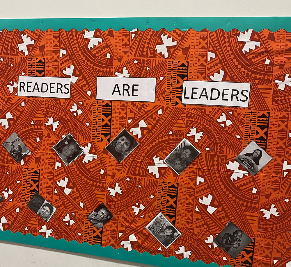 A colorful bulletin board featuring authors of Pacific Islander and Latin American descent.