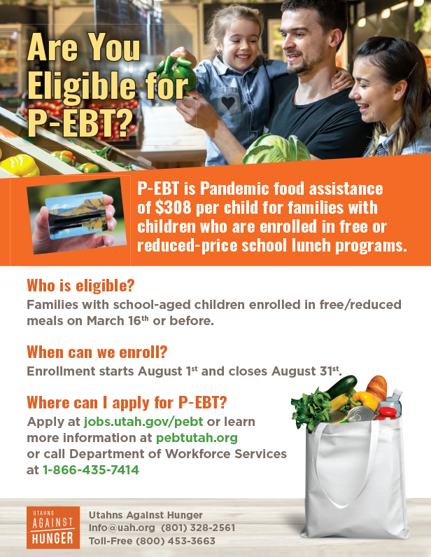 A flyer for P-EBT featuring a happy family shopping in a grocery store and holding up and inspecting produce.