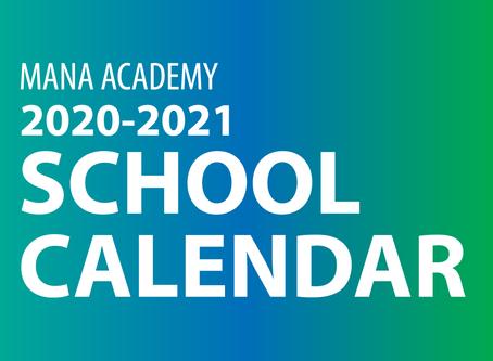 Mana Academy 2020-21 School Calendar