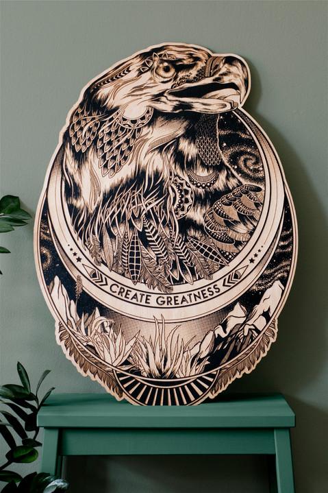 Create Greatness - Wood Engraving