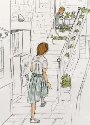 Girl in courtyard, Split, Croatia