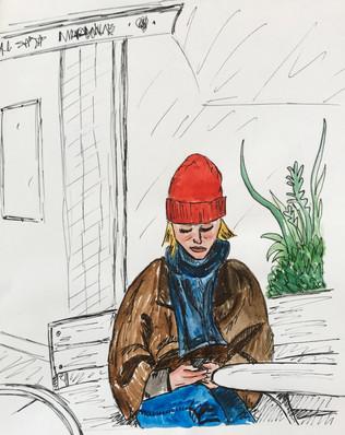 Girl waiting, Copenhagen, Denmark