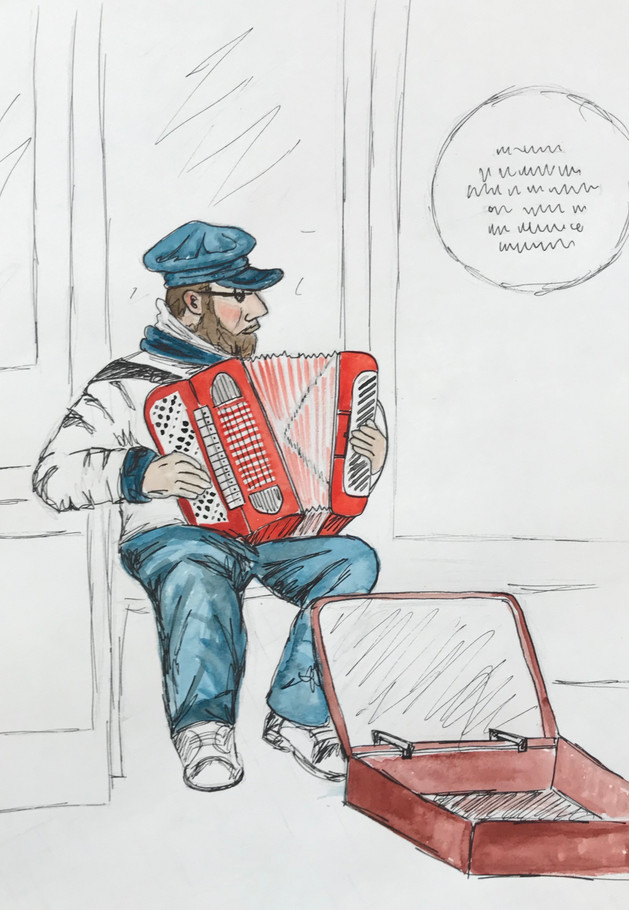 Man playing accordion, Copenhagen, Denmark