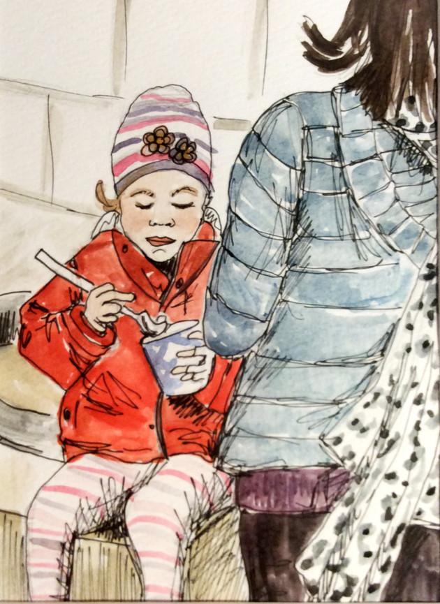 Child eating ice cream, Malmo, Sweden