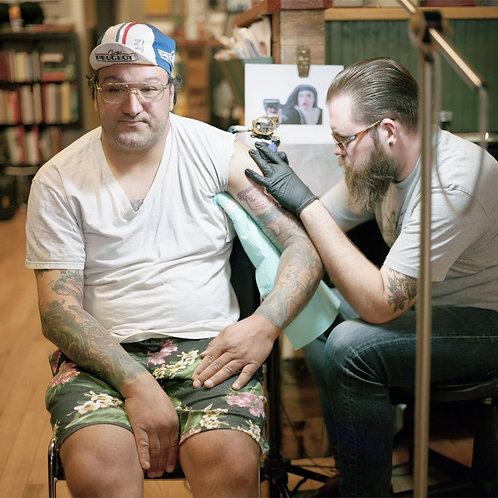 Man Getting a Tattoo | Unframed Print