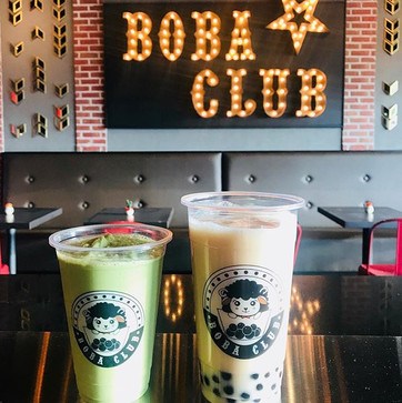 Matcha Latte & Jasmine Milk Tea with Boba