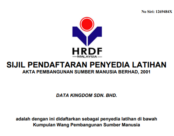 Our traning license from hrdf Malaysia. We will provide excellent training to escalate the trainee performance in the workplace.