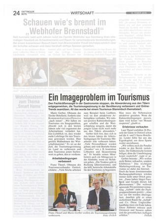 Gerber will die Tourismusgesinnung verbessern