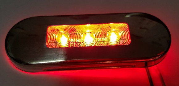 Flush Mount Clearance Light (3LED) - Clear/Red