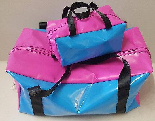 Gear Bag & Toiletry Bag - Pink & Sky Blue