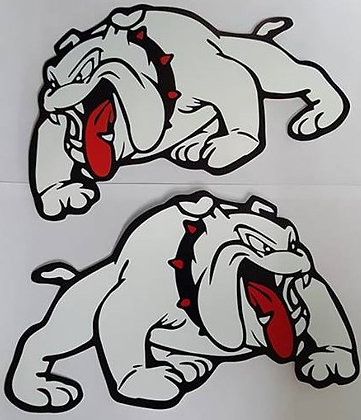 White Mack Dog Stickers (Pair)