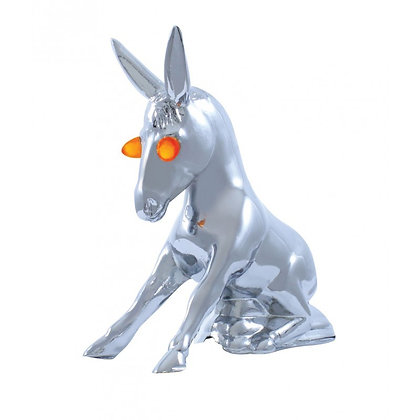 Chrome Sitting Donkey Hood Ornament