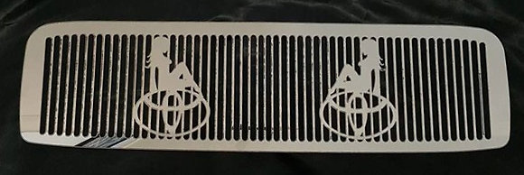 Stainless Toyota Pre DPF Intercooler Guard - Toyota Badge With Skinny Ladies
