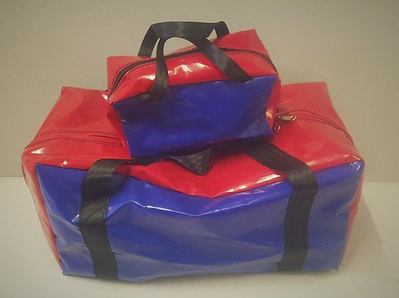 Gear Bag & Toiletry Bag - Red & Blue