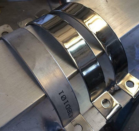 "Polished Stainless Steel Clamps To Suit 6"" Pipe (2 Piece)"