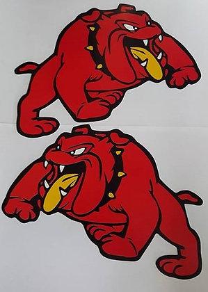 Red Mack Dog Stickers (Pair)
