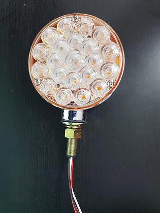 12 Volt Round LED Indicator 1 Stud - Clear/Amber